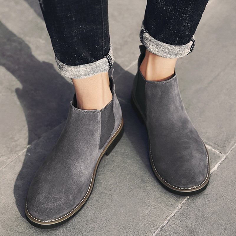 Men Suede Leather Chelsea Boots 2018 Winter Warm Fur Winter Boots Slip on Ankle Boots for Men xiangxue warm and fuzzy black suede flat boots for winter 2018 chelsea boots for women