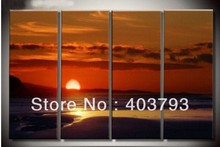 4PC sunrise over the sea wall decorative modern art oil painting  no stretched free shipping