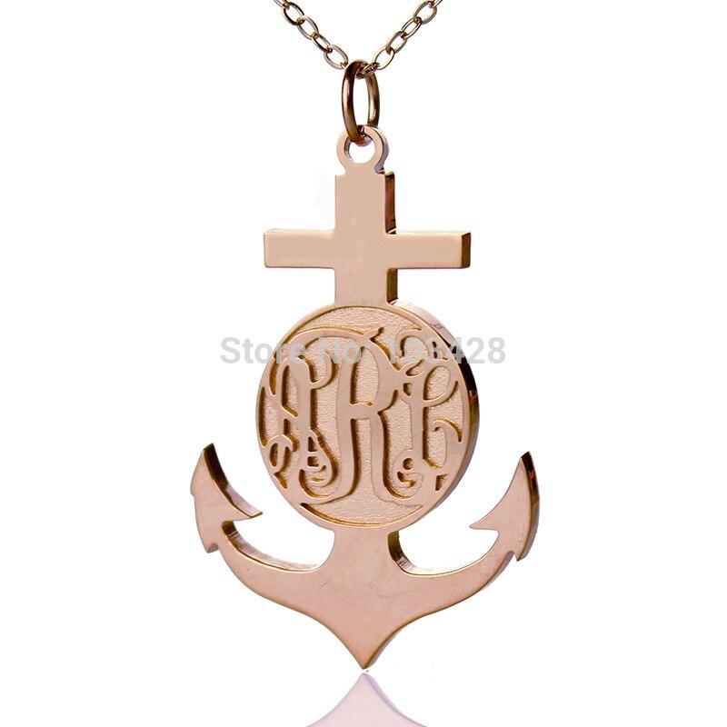 AILIN nom personnalisé croix collier couleur or Rose gravé monogramme pendentif Camargue croix fidélité & espoir grande croix charme