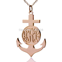Personalized Name Cross Necklace Rose Gold Color Engraved Monogram Pendant Camargue Cross Loyalty & Hope Large Cross Charm