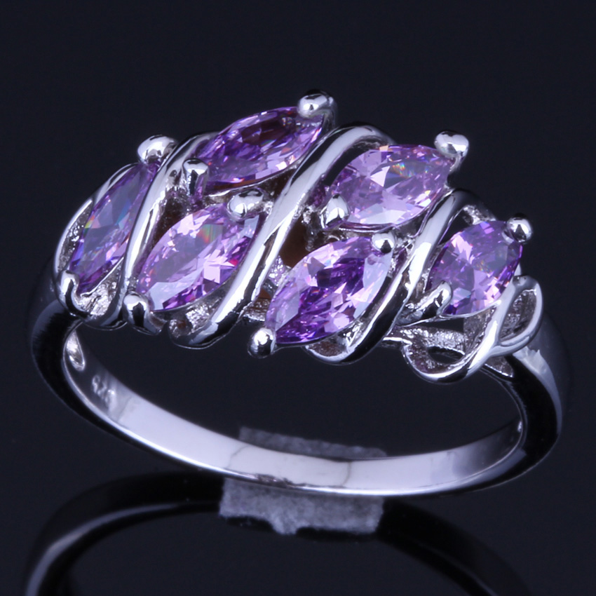 Good-Looking Purple Cubic Zirconia 925 Sterling Silver Ring For Women V0124
