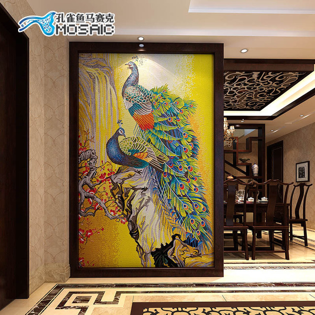 Guppies Bj090 Ice Jade Gl Mosaic Pea Backdrop Mirror Puzzle Cut Painting The Living Room Hallway
