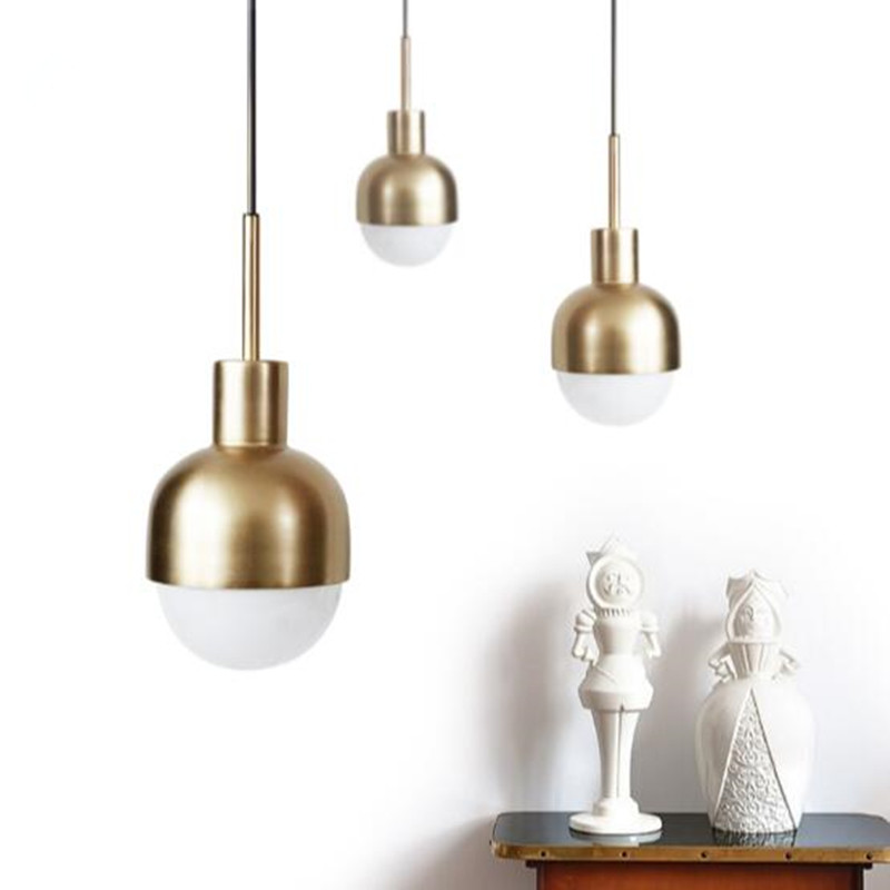Nordic Denmark Copper Pendant Lights Modern Mini Suspension Luminaire Loft E27 LED Bulb Light Fixture For Coffee Shop Bar modern big bang suspension pendant lights stacking acrylic lamps home decor d65cm 91cm light fixture e27 bulb lighting for bar