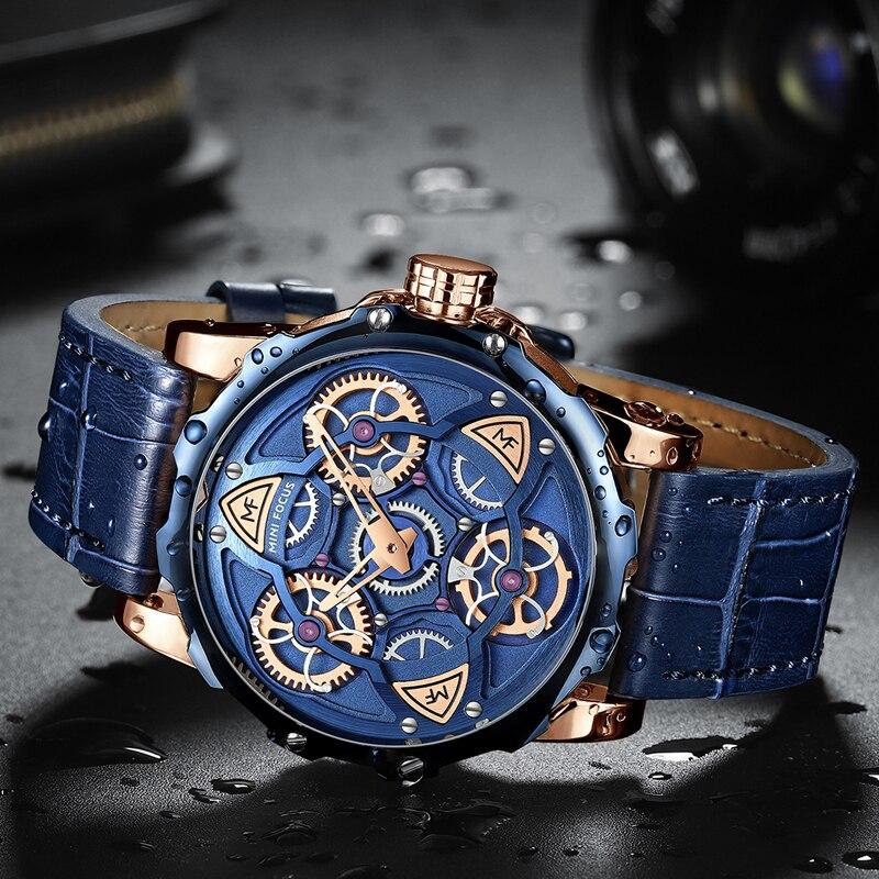 MINI FOCUS montre hommes 2019 mode de luxe marque en cuir militaire sport montres pour hommes étanche chronographe Relogios