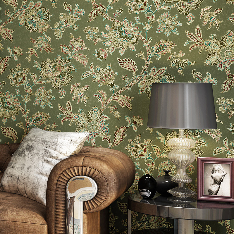 beibehang American non-woven bedroom wallpaper living room TV background retro green rural countryside large flower wall paper spring abundant flowers rich large mural wallpaper living room bedroom wallpaper painting tv background wall 3d wallpaper