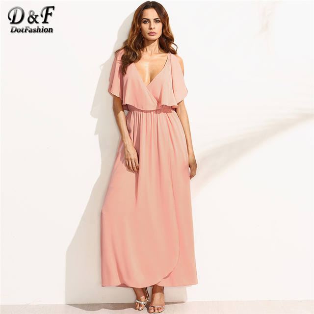 a9f577789f9 Dotfashion Plunge V Neckline Frill Blouson Full Length Dress Women Deep V  Neck Split Sleeve beach