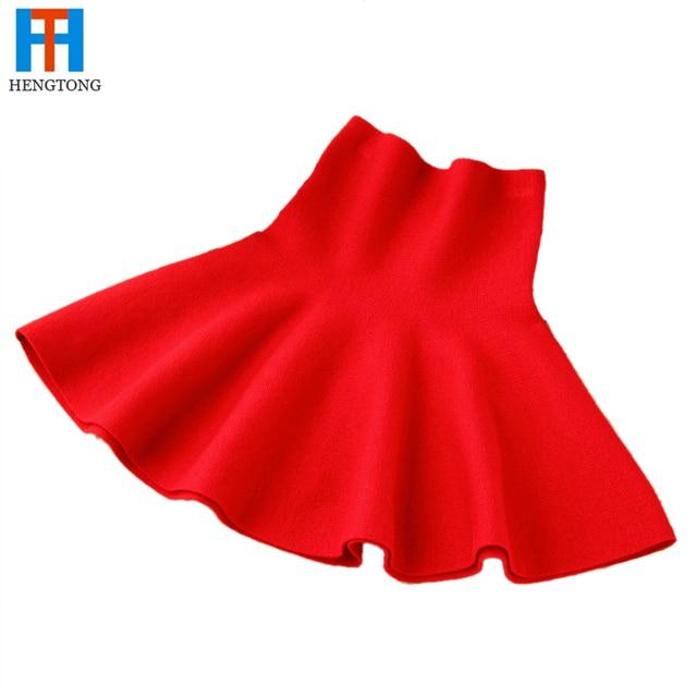 2015 New Girls Spring Winter Solid Skirts Girls High Waist tutu Skirt Baby Girls Party Skirts Kids Brand Girls Wool Knit Skirts