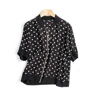 100%silk spliced women fashion dots print zipper short sleeve cardigan coat thin kackets M/L retail wholesale