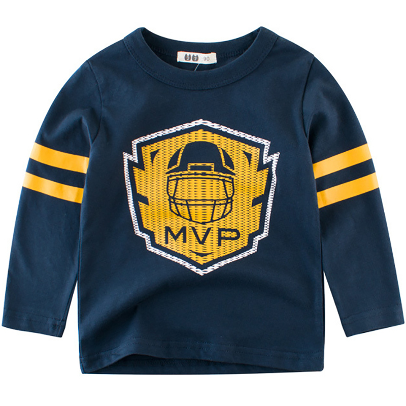 Boys T-Shirts Cute Fun Pattern Design Girls Tops Autumn Winter Kids Clothes Children Long Sleeve Tshirts Toddler Cotton T Shirts