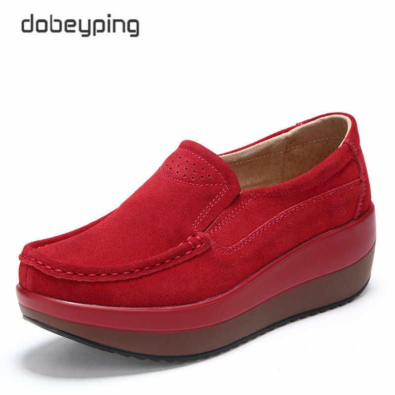 2018 г. Новая весенне-Осенняя обувь женская обувь на платформе женские мокасины из коровьей замши на плоской подошве, на толстой подошве женская обувь