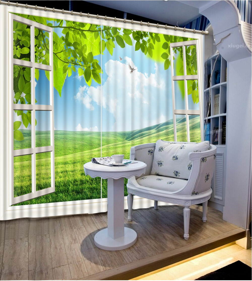 customize grommet top curtains Sunny meadow landscape living room window curtains for kids rooms blackout curtains 3D  customize grommet top curtains Sunny meadow landscape living room window curtains for kids rooms blackout curtains 3D