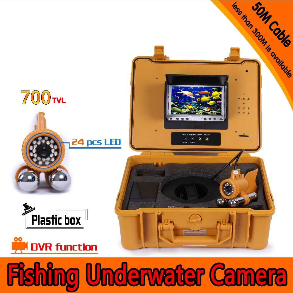 (1 set) 50M cable 7 Inch TFT-LCD Color Display HD 700TVL Line Under water Camera Lens Fishing DVR 24 White LED waterproof 360 degree rotaton under water 50m dvr fishing camera av handheld endoscope