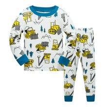 Купить с кэшбэком Digger Children Pajamas Sets Baby Boys Sleepwear Clothes Suit Baby Boy PJ'S Black T-Shirt + Pant 2-Pieces Suit 100% Cotton