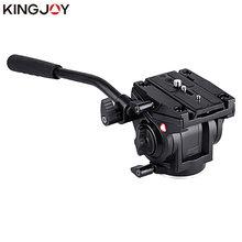 KINGJOY الرسمية VT 3510 بانورامية ترايبود ماكينة طي أوتوماتيكي هيدروليكية مفردة الرأس السائل فيديو رئيس ل ترايبود Monopod حامل كاميرا حامل المحمول SLR DSLR