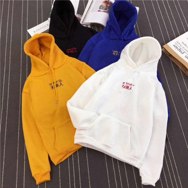Long Sleeve Letter Embroidery Pullover Hoodies for Women/men Hoody Causal Loose Plus Size Sweatshirts Femme Warm Thickened YF2
