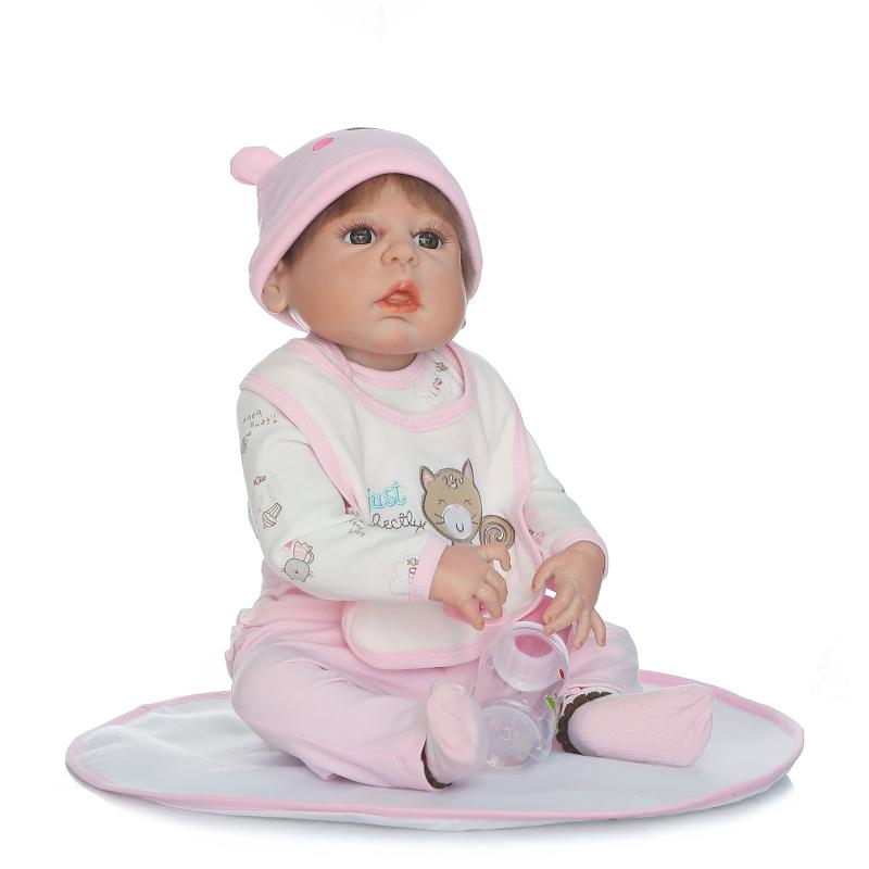 New Style Reborn Baby Girl Dolls 22 Full Vinyl Body Lifelike Reborn Baby Doll in Pink Clothes for Girls Birthday Gifts Toys new 18 american girl doll toys with full vinyl body princess baby toy dolls for girls brinquedos kids birthday christmas gifts