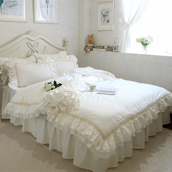 Juego de cama de lujo bordado, funda de edredón con volantes de encaje Beige, textiles decorativos para boda, cubrecamas, funda elegante para edredón