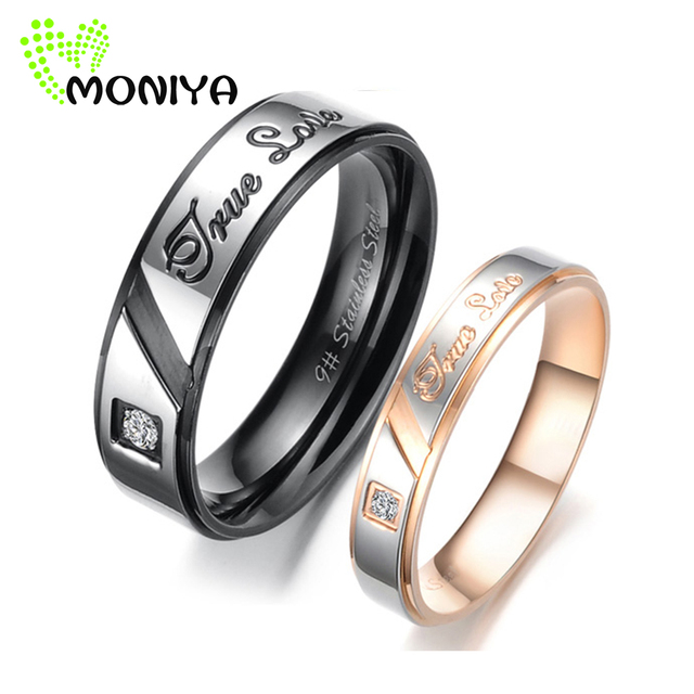 Moniya Stainless Steel CZ Cubic Zirconia Couple Rings For Him And Her  Promise Engagement Wedding Band