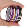 30 unidades/pacote 2 m Striping Linha Tape Nail Art Decoração 3D Uv Gel Polonês Misturado Fio Metálico Colorido Adesivo Decalque Ferramenta de Manicure