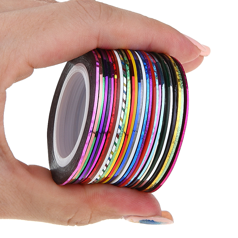 30pcs/pack 2m Mixed Colors Rolls 3D Striping Tape Line DIY Nail Art Decoration Sticker Uv Gel Polish Tips Metallic Yarn Decal 14 rolls glitter scrub nail art striping tape line sticker tips diy mixed colors self adhesive decal tools manicure 1mm 2mm 3mm