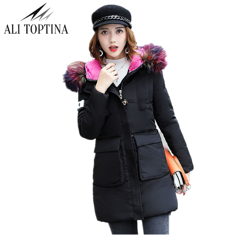 ALI TOPTINA New Parkas Winter For Women 2017 Coat Down Cotton Woman High Quality Thick Jacket Fur Collar Hooded Outerwear Mf07 fashionable thick hooded pleated down coat for women