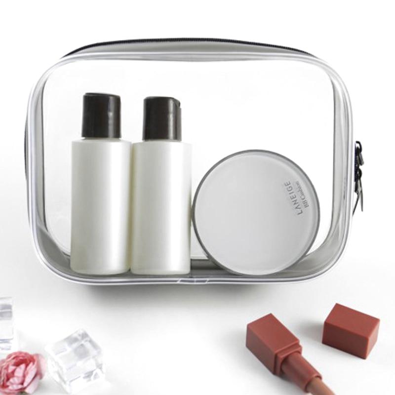 BONAMIE Transparent PVC Cosmetic Bag Women Men Travel Makeup Bag Zipper Make Up Organizer Pouch Toiletry Beauty Wash Kit Case