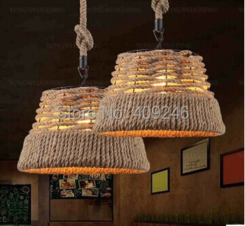 RH loft American Rural Hand-woven Hemp Rope Chandelier 38CM Ceiling Light Droplight Restaurant Gallery Corridor Hall Cafe Bar