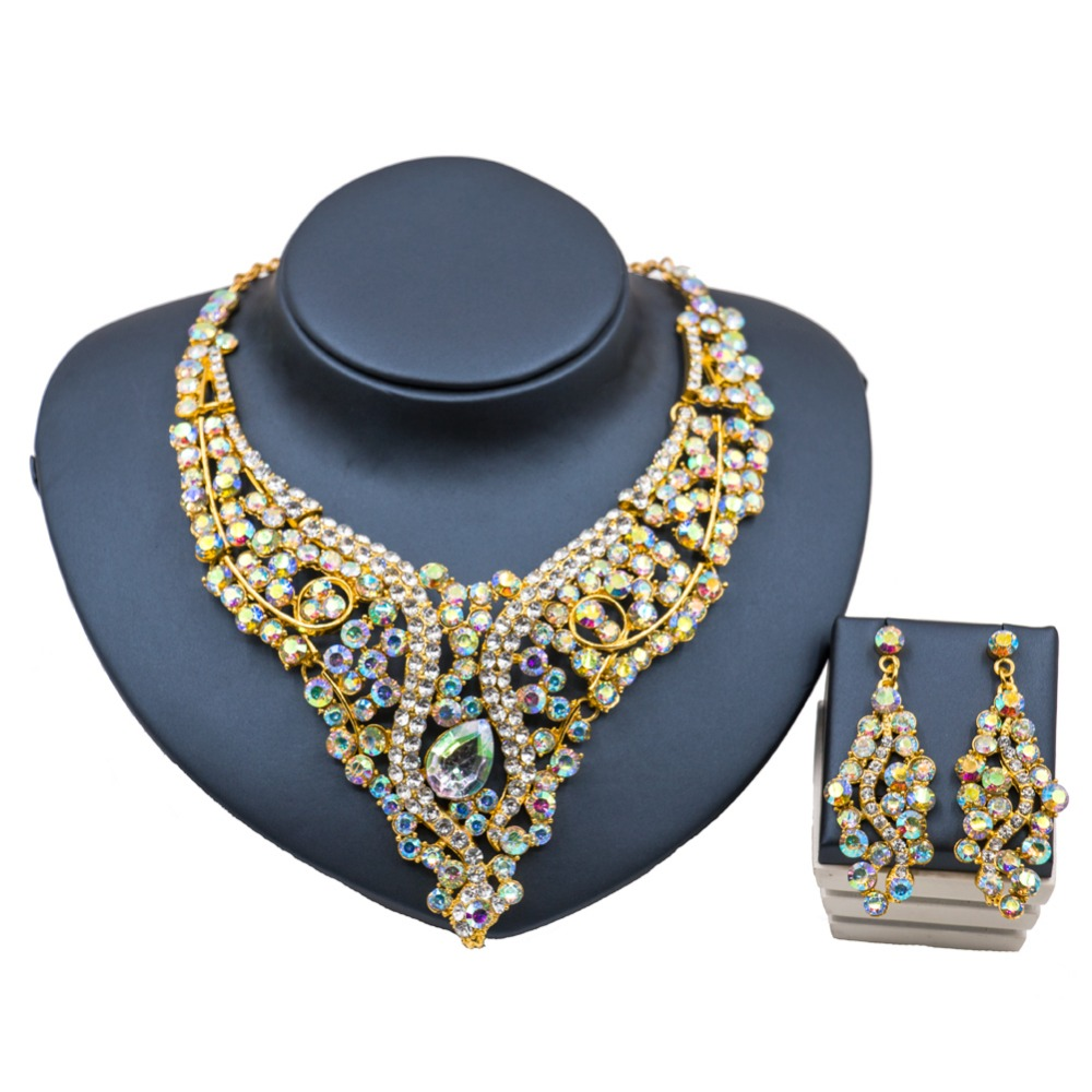 lan palace nigerian wedding african beads women jewelry set 18k gold jewelry set necklace and earrings six colors free shipping