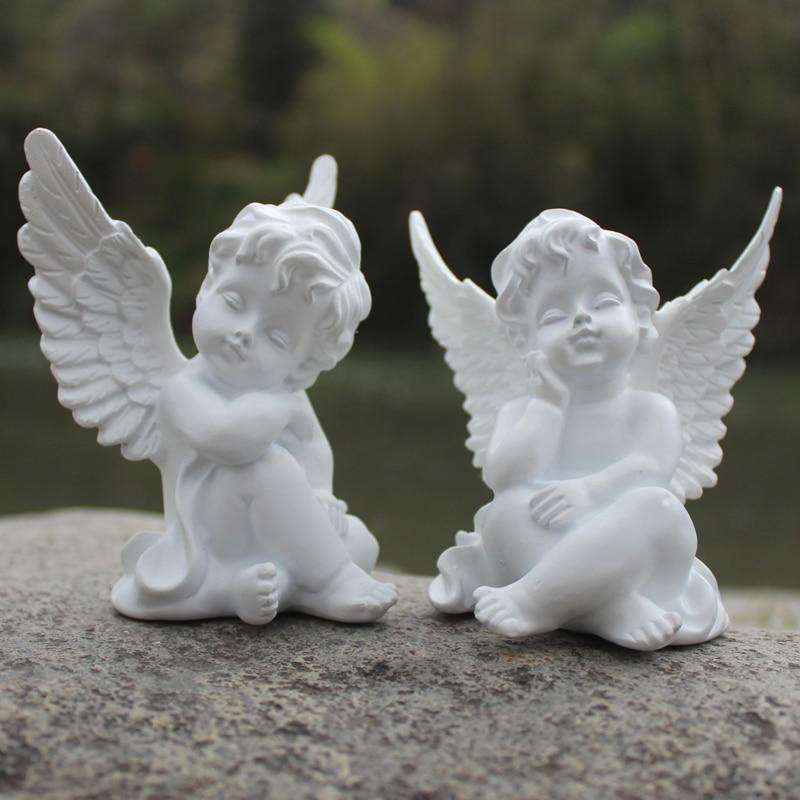 Escultura de Anjo Cupido em Resina Decoração de Sala de Estar Presentes de Casamento Amóretto Artesanato Clitóris Romanos L3165 2 Pçs – Set