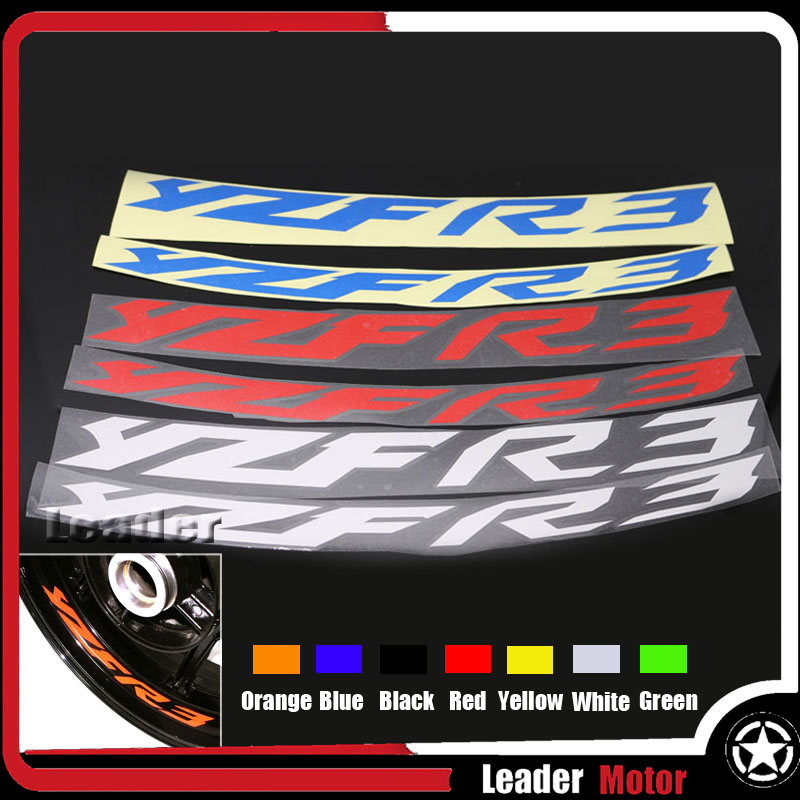 For YAMAHA YZF-R3 YZF R3 YZFR3 Motorcycle Accessories Front & Rear Wheel Stickers Reflective Rim Tape Tire Decals 7 Colros