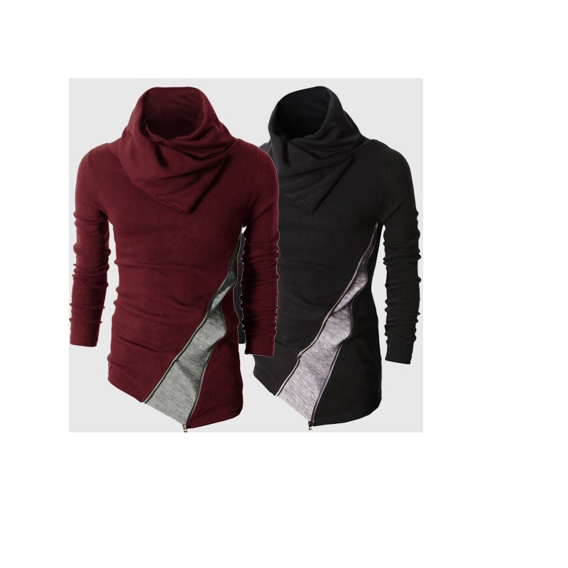 Men's Foreign new hit color Slim Pullover Sweater men Turtleneck can be turned Sweater Black/Red wine M-2XL