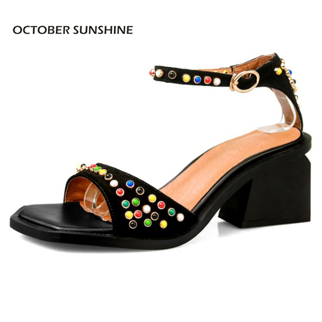 OCTOBER SUNSHINE Summer Genuine leather Womens shoes Peep Toe High heels pumps women sandals 2017 NEW fashion rivet woman shoes plus size 2017 new summer suede women shoes pointed toe high heels sandals woman work shoes fashion flowers womens heels pumps