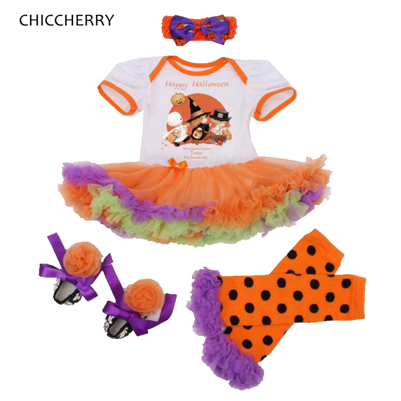 Happy Halloween костюм для маленьких девочек одежда для малышей Кружево комбинезон платье Гетры для девочек Обувь повязка на голову новорожденног...