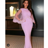 Fashion Pink O Neck Beaded Bling Bling Cap Mermaid Vestidos De Festa Prom party evening gowns 2018 Mother of the Bride Dresses