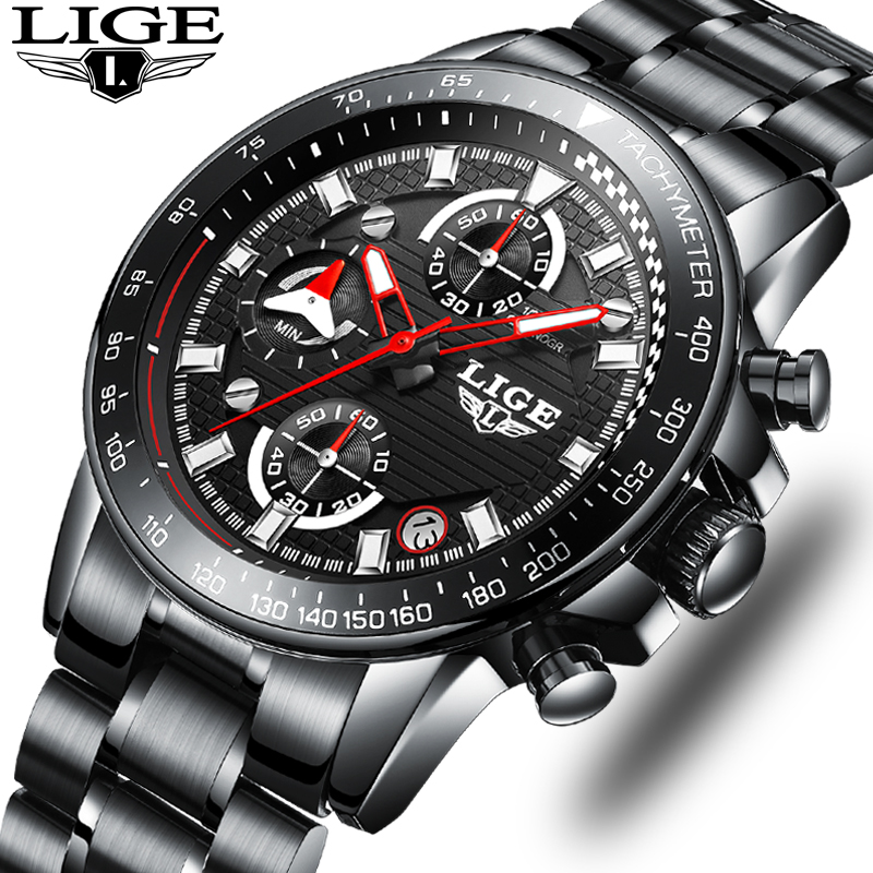 LIGE Mens Watches Top Brand Luxury Fashion Business Quartz Watch Men Sport Full Steel Waterproof Black Clock relogio masculino lige horloge 2017