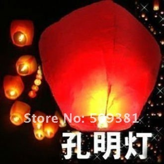 30 pcs/Lot, Free Shipping, Promotion Chinese Conventional Festival Flying Sky Lanterns, 6-8 Colour