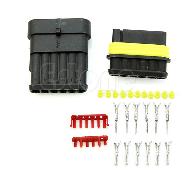1 5mm 1 Kit 6 Pin Way Waterproof Electrical Wire Sealed Connector Plug Car Auto W0823S