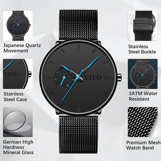 CIVO Fashion Casual Mens Watches Waterproof Analogue Sports Wristwatches Men Quartz Watches For Men Gift Clock Relogio Masculino