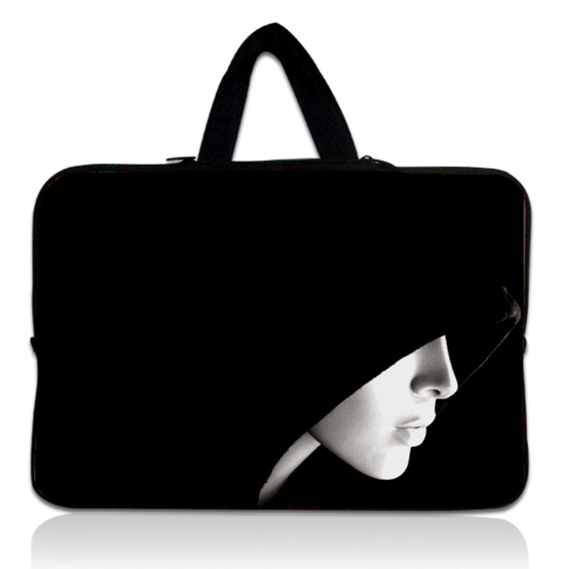 Black Hooded Lady 11.6 12 Laptop Sleeve Notebook Case Carrying Bag PC Handbag For Apple Air / HP Dell Acer Thinkpad #
