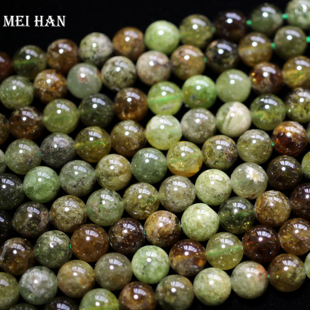 Meihan Wholesale genuine natural approx38beads set 10mm green garnett smooth round loose stone beads for jewelry