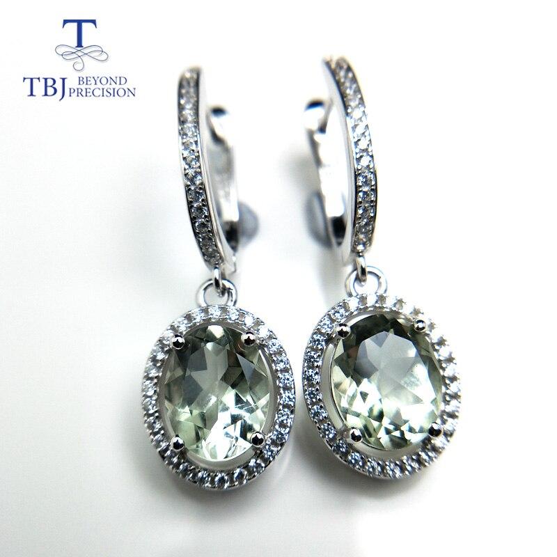TBJ, nouveau élégant de baisse fermoir boucle d'oreille avec naturel vert améthyste 4ct pierres précieuses pour les femmes parti daily porter en 925 argent comme cadeau