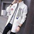 A nova gola longo blusão versão Coreana da personalidade dos homens Magro carta impressão lazer jaqueta corta-vento