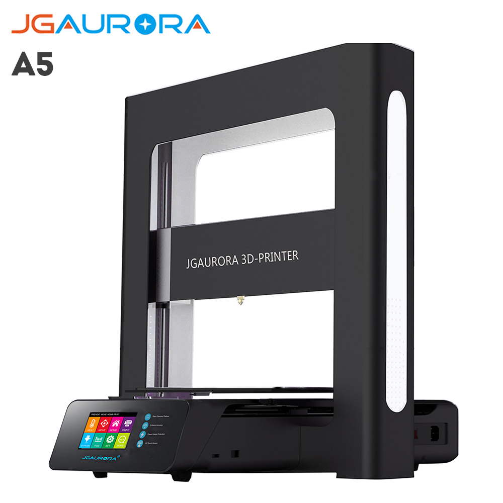 Russia Free Shipping JGAURORA A5 3D Printer DIY Kit with Touch Screen Support PLA ABS Cura Simplify3D x p7 3d printer diy kit 1 75mm 0 4mm support abs pla hips 1286 4mini lcd screen
