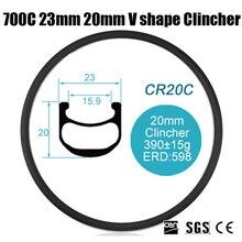 Catazer 700C 23mm Profile 20mm V shape Clincher Full Carbon Fiber Road Bike Wheel Rim for Triathlon TT Cyclocross Basalt Brake
