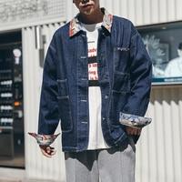 2017 Autumn Japanese Retro Pocket Lapel Casual College Varsity Brand Clothes Male Denim Jacket Jeans Bomber