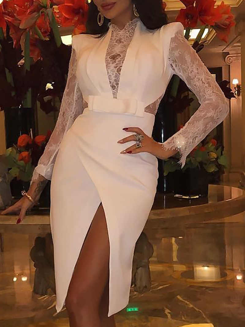 70b571dc7 ... Sexy Deep V-neck Patchwork Lace Dress Women Long Sleeve Split Party  Dress Elegant White ...