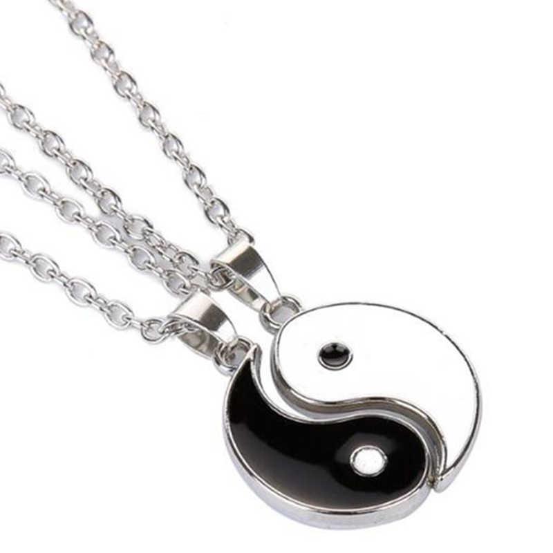 Collier pendentif en émail noir blanc Tai Chi Yin Yang Gossip meilleurs amis collier ras du cou BFF pour hommes femmes amoureux cadeau de fête