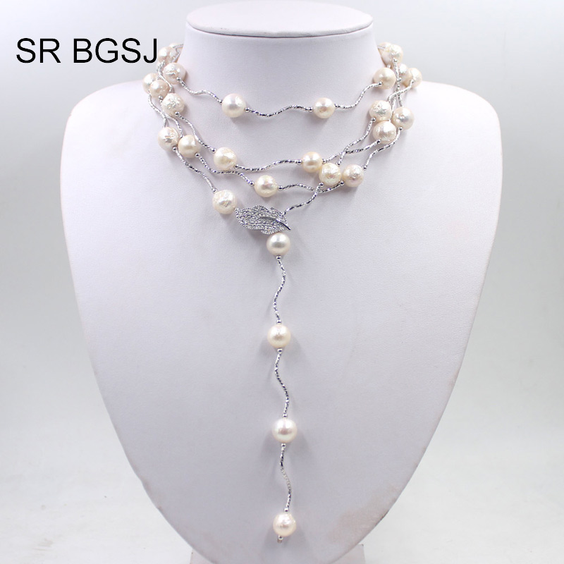 Free Shipping White Edsion FW Pearl Beads Leaf Clasp Women Jewelry Statement Necklace 9-10mm 60