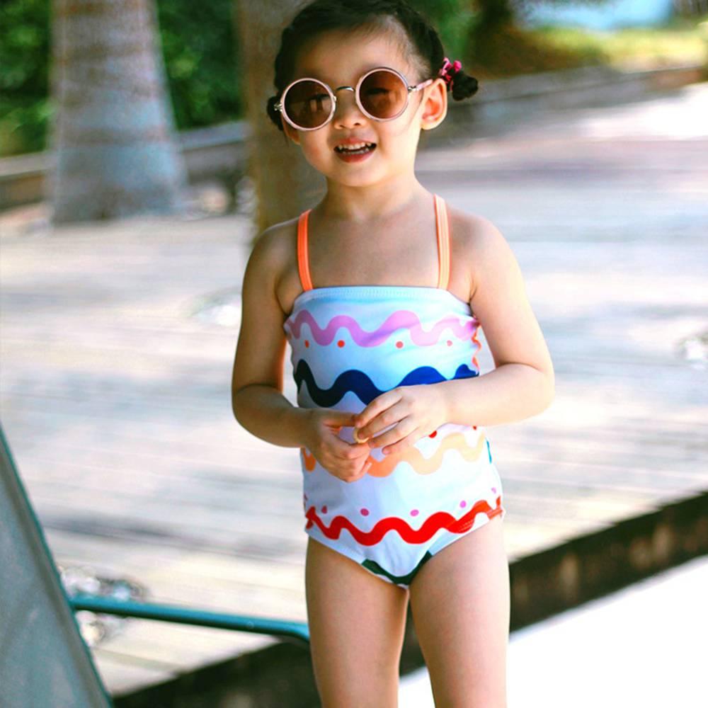 2-6T Girls' Swimwear Rainbow Stripes Bikini For Girl One-Piece Swim Rompers Backless Swimwear Cute Bather Girls UV Baby Swimwear