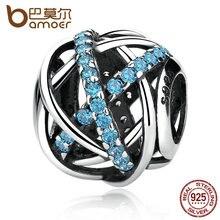 Bamoer auténtica plata de ley 925 azul zirconia encantos diy cupieron las pulseras y brazaletes para las mujeres accesorios pas331